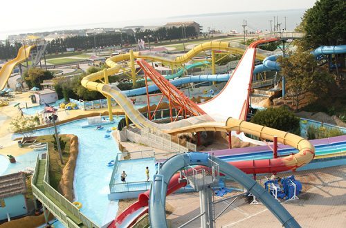 Waterpark aerial view of ocean city