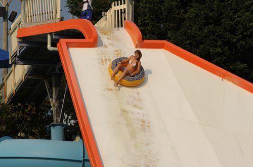 Woman on waterpark slide ocean city